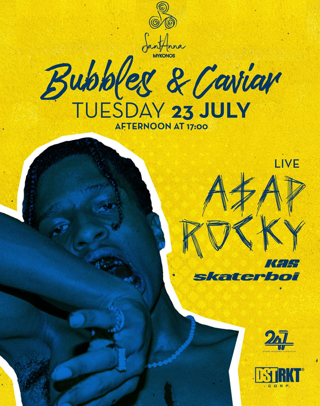 SantAnna Mykonos Bubbles & caviar Live Asap Rocky party