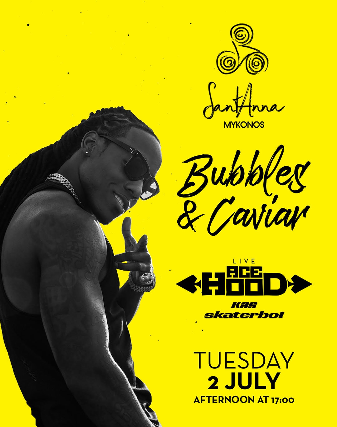 Santanna Mykonos Bubbles & Caviar with Ace Hood party